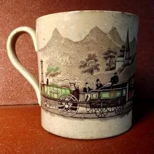 Rare Circa 1830 Hand Tinted Railway Commemorative 1 Pint Tankard
