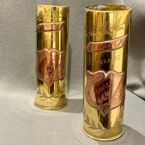 Pair of Decorative Named Brass Trench Art Shell Cases image-1