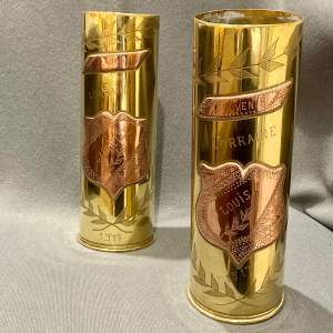 Pair of Decorative Named Brass Trench Art Shell Cases