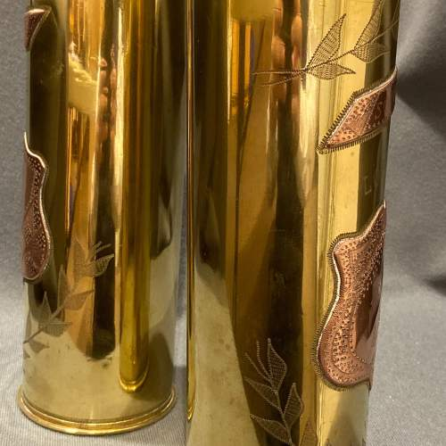 Pair of Decorative Named Brass Trench Art Shell Cases image-3