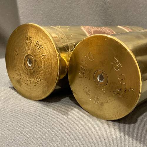 Pair of Decorative Named Brass Trench Art Shell Cases image-5