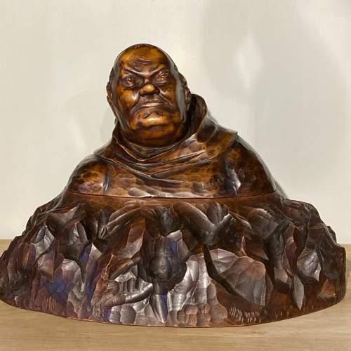 Carved Wooden Monk Figure on Carved Base image-1