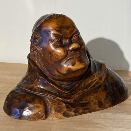 Carved Wooden Monk Figure on Carved Base image-2