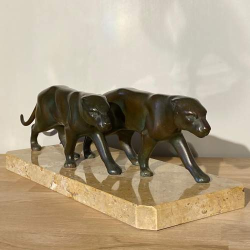 Art Deco Pair of Spelter Panthers on Marble Base image-1