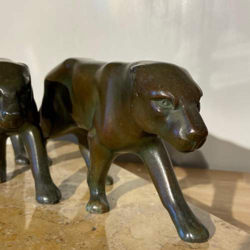 Art Deco Pair of Spelter Panthers on Marble Base image-3
