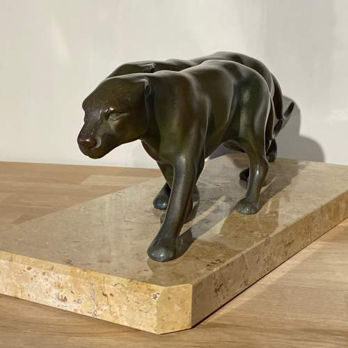 Art Deco Pair of Spelter Panthers on Marble Base image-4