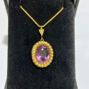 Antique 15ct Gold Amethyst and Pearl Pendant Necklace