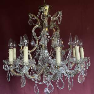 Beautiful French Ten Branch Glass And Crystal Chandelier