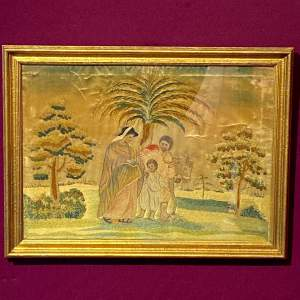 18th Century Silkwork Picture of a Family Scene