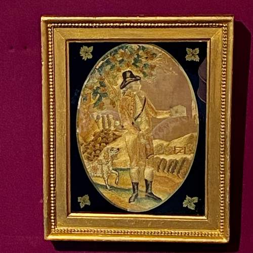 18th Century Silkwork Picture of a Huntsman image-1