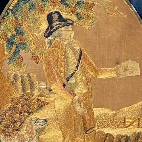 18th Century Silkwork Picture of a Huntsman image-2