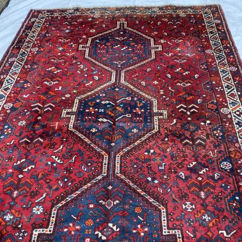 Superb Large Old Hand Knotted Persian Rug Shiraz Triple Medallion image-1