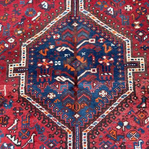 Superb Large Old Hand Knotted Persian Rug Shiraz Triple Medallion image-2