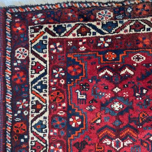 Superb Large Old Hand Knotted Persian Rug Shiraz Triple Medallion image-3