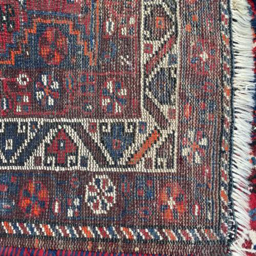 Superb Large Old Hand Knotted Persian Rug Shiraz Triple Medallion image-4