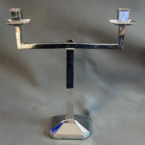 Pair of Art Deco Chrome Candlesticks image-2