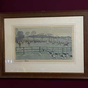 Rare Original Cecil Aldin Signed Lithographic Print The Whaddon Chase