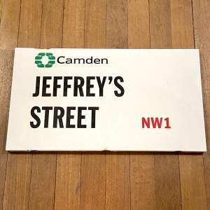 Jeffreys Street Camden London Vintage Enamel Street Sign