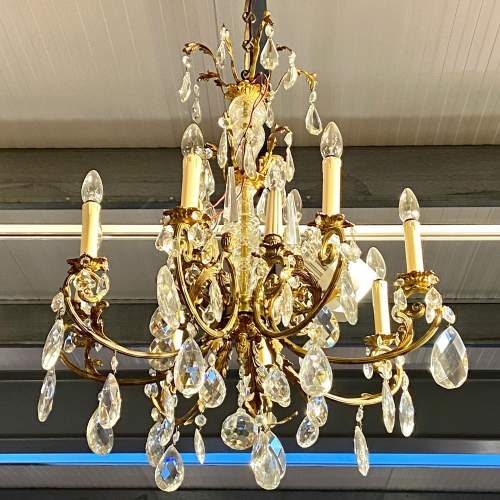 Large French Brass Eight Branch Chandelier image-1