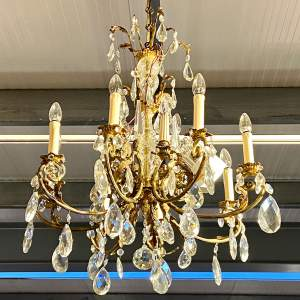 Large French Brass Eight Branch Chandelier
