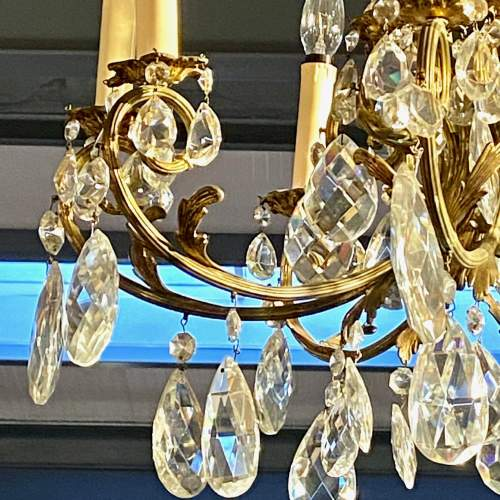 Large French Brass Eight Branch Chandelier image-2
