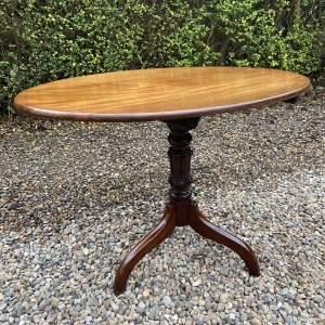 19th Century Mahogany Oval Tilt Top Table