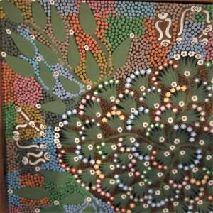 Aboriginal Art by Louise Numina Napanangka titled Medicine Leaves