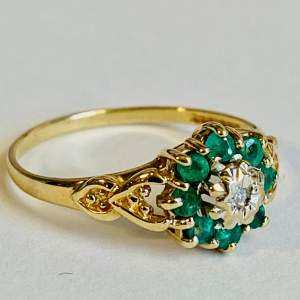 9ct Gold Diamond and Emerald Cluster Ring