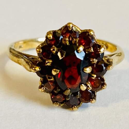 9ct Gold Garnet Cluster Ring image-2