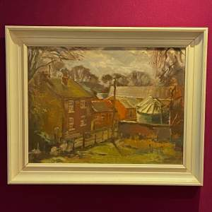 Barry Carter Oil on Board Painting of a Farm