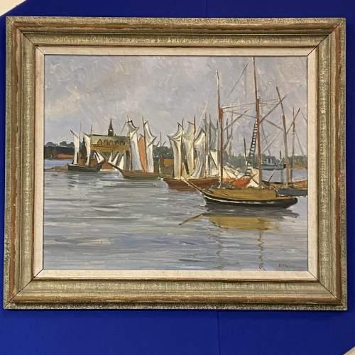 R Mann Oil on Board of Stockholm Harbour image-1