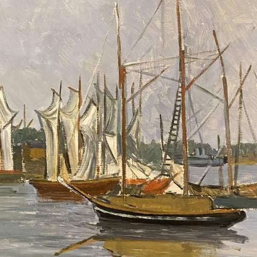 R Mann Oil on Board of Stockholm Harbour image-2