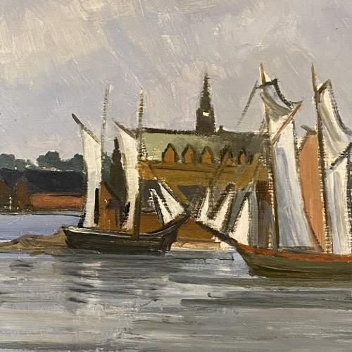 R Mann Oil on Board of Stockholm Harbour image-3