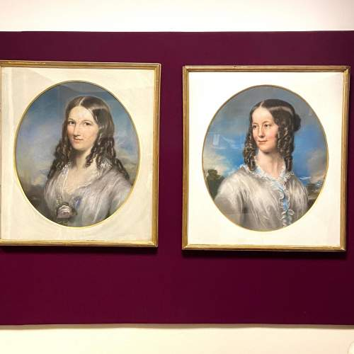 Pair of Stunning Mid 19th Century Pastel Portraits image-1
