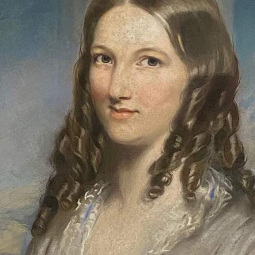 Pair of Stunning Mid 19th Century Pastel Portraits image-3