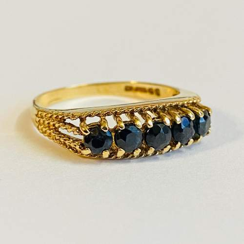 Vintage 9ct Gold Five Stone Sapphire Ring image-1