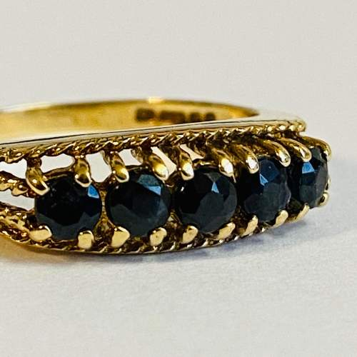 Vintage 9ct Gold Five Stone Sapphire Ring image-2