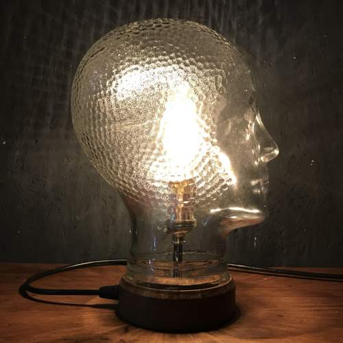 Vintage Glass Mannequin Head Repurposed into a Great Lamp image-1