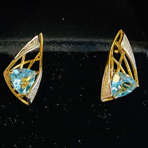 Pair of Vintage Silver Gilt Topaz and Diamond Earrings image-1