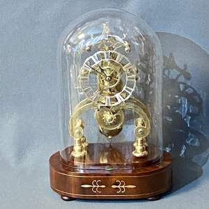 Good Quality Small Fusee Skeleton Clock with Dome