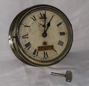 B Cooke and Son Ltd Marine Brass Bulkhead Clock