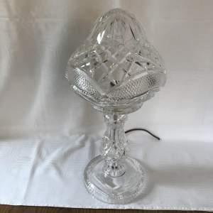 Cut Glass Crystal Lamp Base with Mushroom Shade