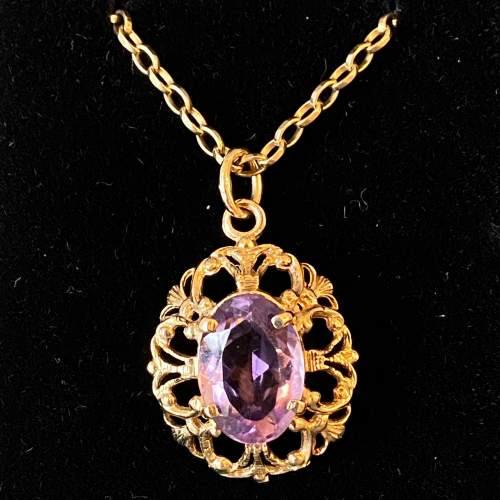 9ct Gold Amethyst Pendant and Chain image-1