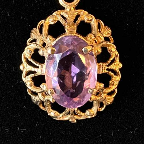 9ct Gold Amethyst Pendant and Chain image-2