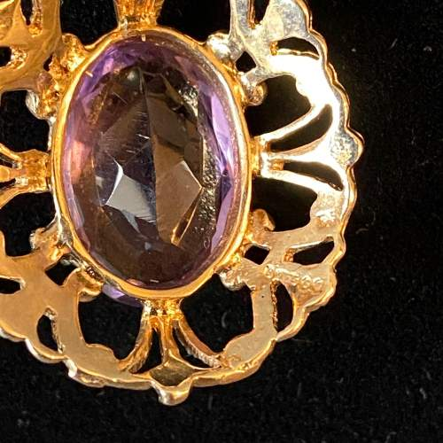 9ct Gold Amethyst Pendant and Chain image-4