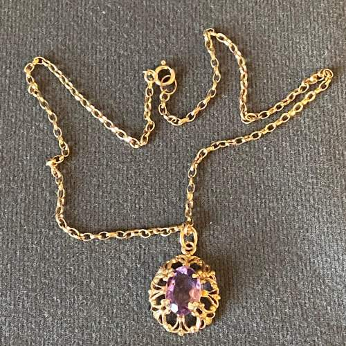 9ct Gold Amethyst Pendant and Chain image-5