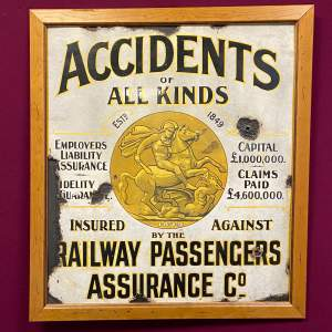 Original Wills Railway Insurance Enamel Advertising Sign