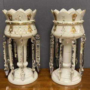 Pair of Victorian White Opaque Glass Lustres