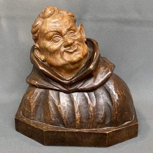 1930s Large Carved Wood Monk