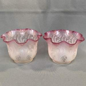 Pair of Signed St Louis Glass Oil Lamp Shades